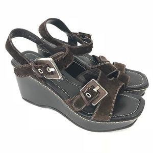 Donald J Pliner Brown Strappy Platform Sandals